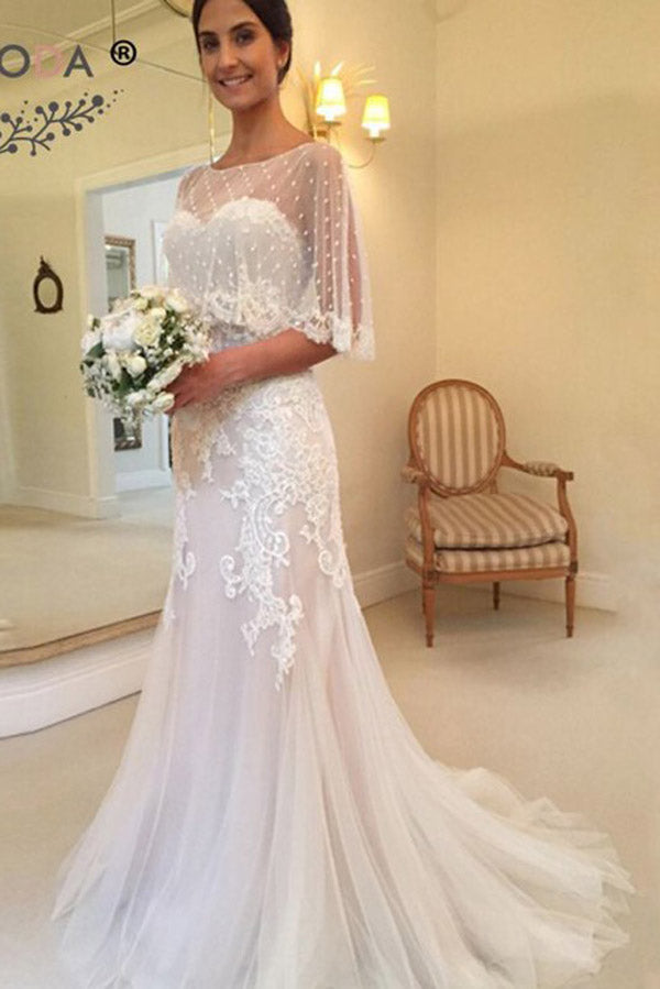 Unique Modest Sweetheart Mermaid Applique Tulle Sweep Train Wedding Dresses, PW142