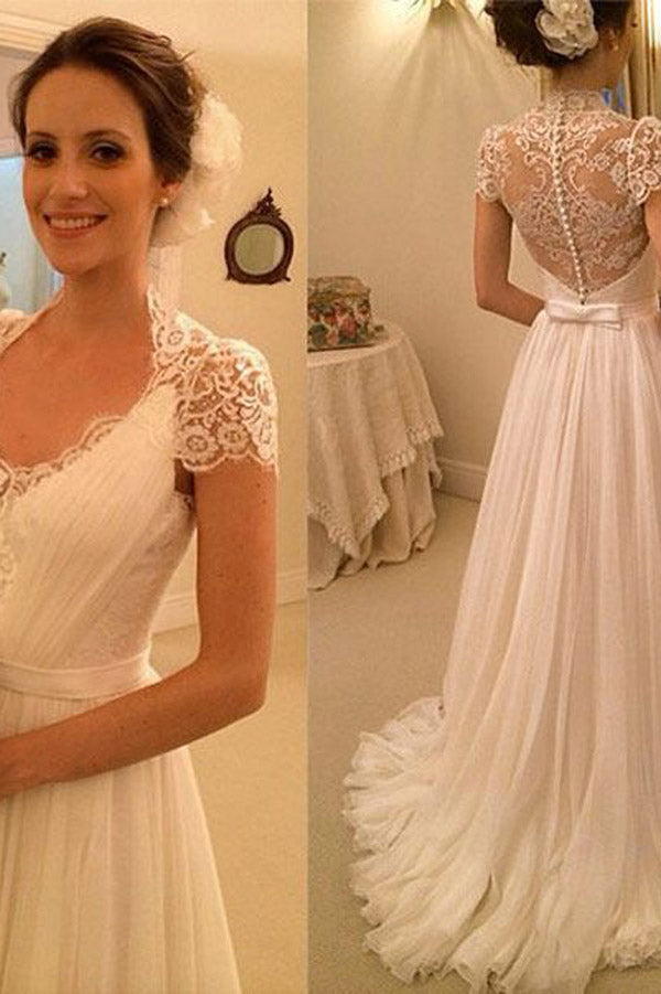 White A Line Lace Sleeveless Beach Wedding Dresses Cheap Wedding
