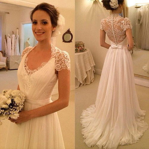 White A Line Lace Sleeveless Beach Wedding Dresses, Cheap Wedding Gowns, PW143