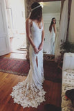 Sexy Spaghetti Straps Lace Wedding Dress,Romantic Wedding Dress, PW144