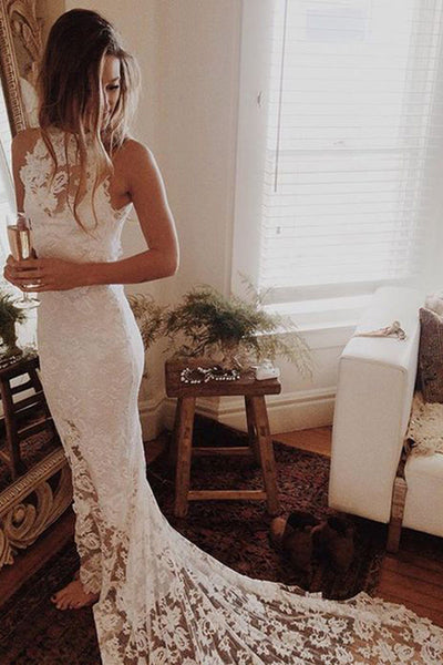 White Lace Wedding Dresses with Sweep Train, Princess Wedding Dresses, PW145