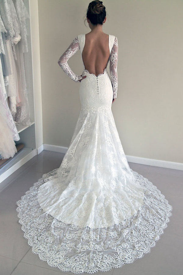 Lace Mermaid Bridal Dress, Backless Trumpet Long Sleeves Wedding ...