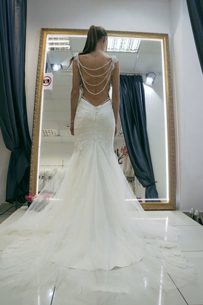 White Mermaid Spaghetti Straps Open Back Wedding Dress with Appliques, PW148
