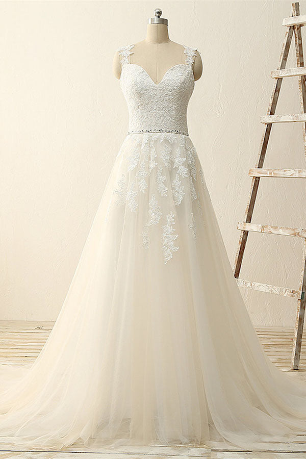 Beautiful A Line Lace Modest Handmade V-Neck Wedding Dresses with Appliques, PW149