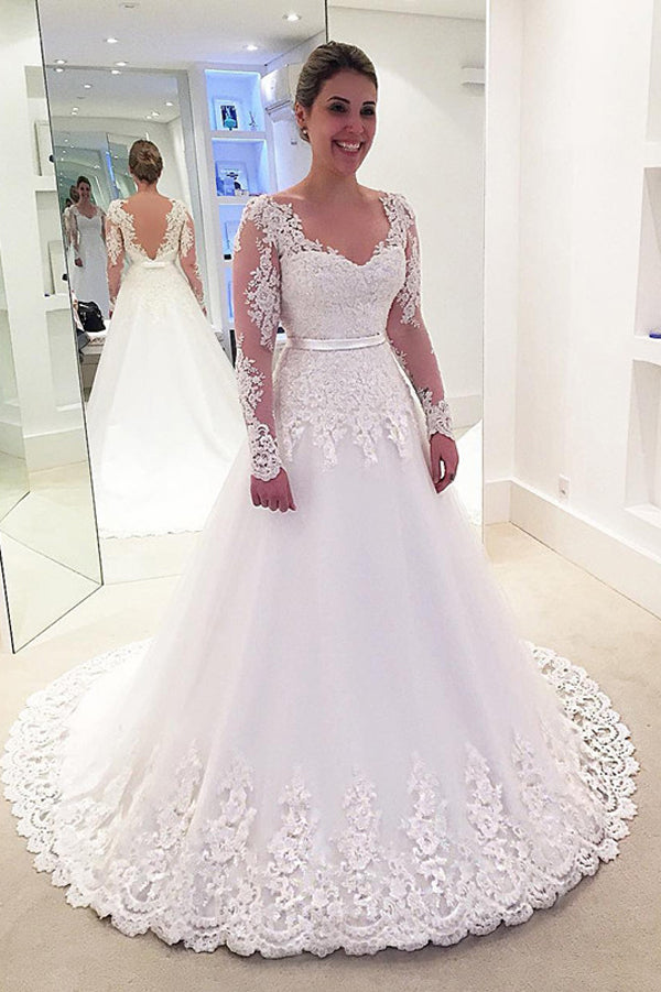 Elegant Tulle Long Sleeves Backless Plus Size Lace Wedding Dress, PW150