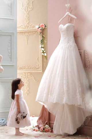 Sexy Elegant Sweetheart Lace Applique High Low Tulle Wedding Dress, PW151