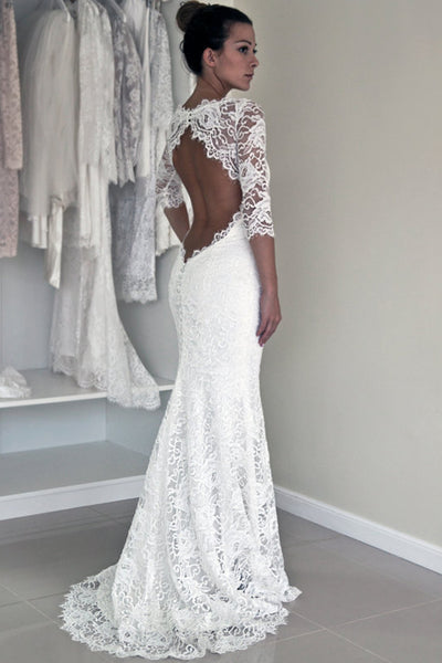 Elegant White Lace Backless Mermaid 1/2 Sleeve Wedding Dresses, PW152