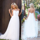 Beach Bridal Gowns,White Backless Beach Wedding Dresses,Long Wedding Dresses, PW153