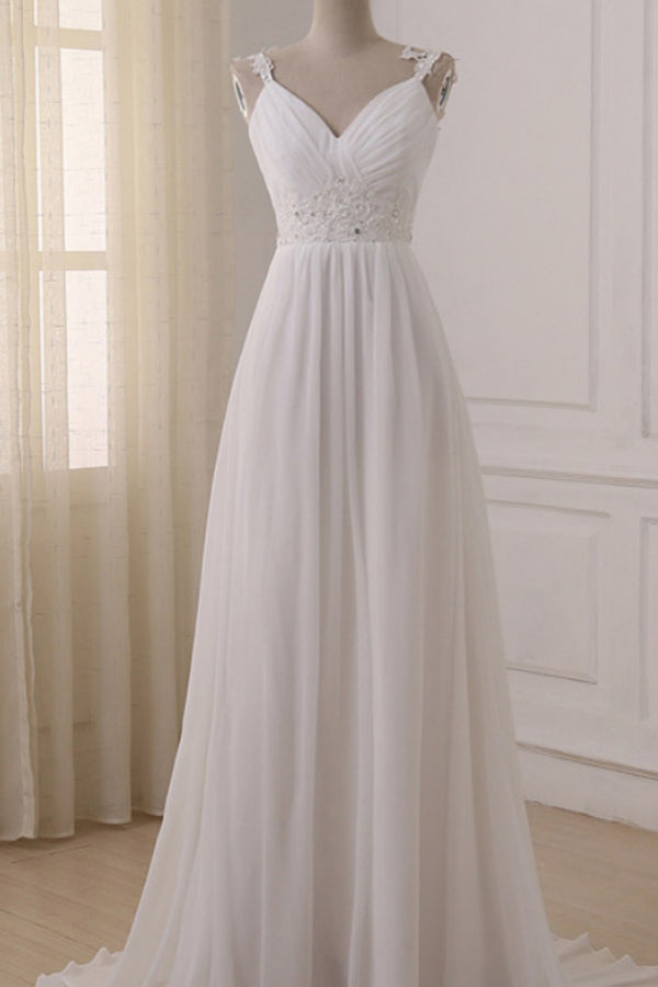 White Chiffon V Neck Straps Wedding Dresses with Sweep Train, PW154