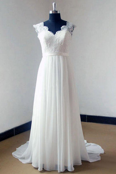 Ivory Chiffon Sweep Train V-neck Lace Bodice Beach Wedding Dresses, PW157