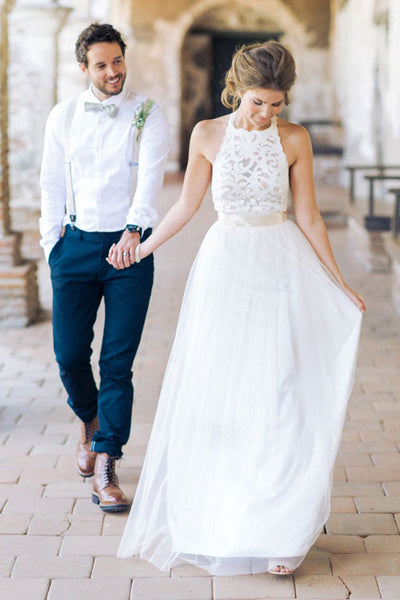 Simple Jewel Sleeveless Long Lace Top White Tulle A-line Wedding Dress, PW159