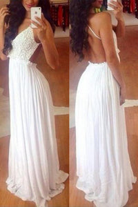 Elegant White Long Chiffon Simple Lace Backless Wedding Dresses, PW160