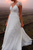 Chiffon Cap Sleeves A Line V Neck Backless Wedding Dress with Appliques, PW161