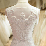 Mermaid Scoop Neck Tulle Side Zipper Wedding Dress with Appliques Beading, PW162