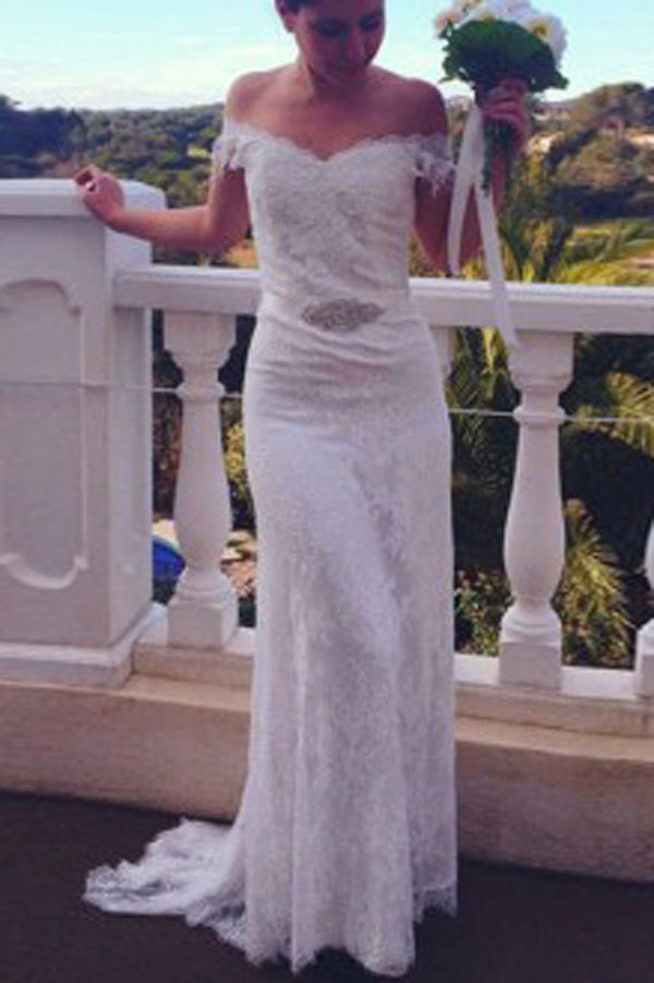 Mermaid Backless V Neck Lace Cap Sleeves Wedding Dress with ...