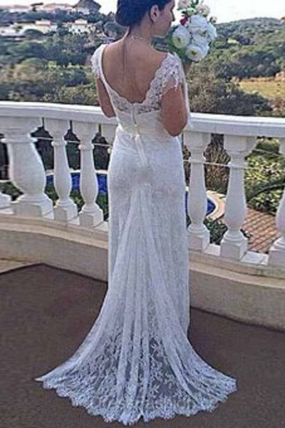 Mermaid Backless V Neck Lace Cap Sleeves Wedding Dress with Appliques, PW163