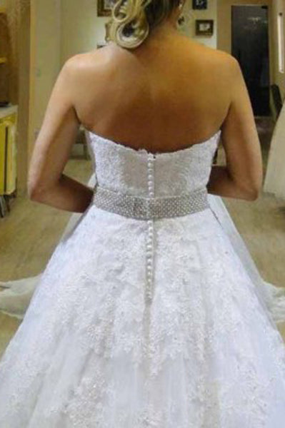 Sweetheart Organza Court Train A Line Wedding Dress with Appliques Beading, PW164