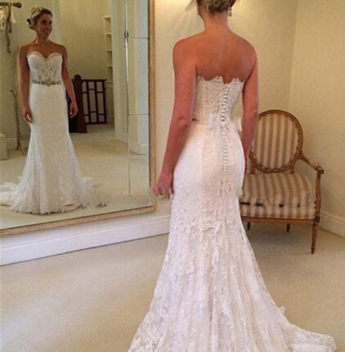 Mermaid Sweetheart Lace Sweep Train Zipper Up Wedding Dress with Beading, PW165