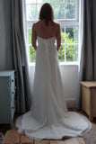 Simple Lace up Court Train Strapless Wedding Dress with Beading, PW167