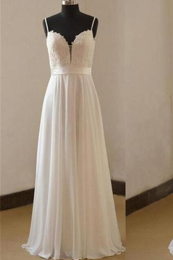Spaghetti Straps Simple Floor Length White Chiffon Wedding Dresses ...