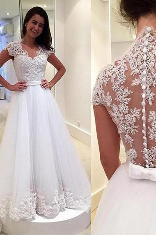 Tulle See Through Back V Neck Lace Cap Sleeves Wedding Dresses ...