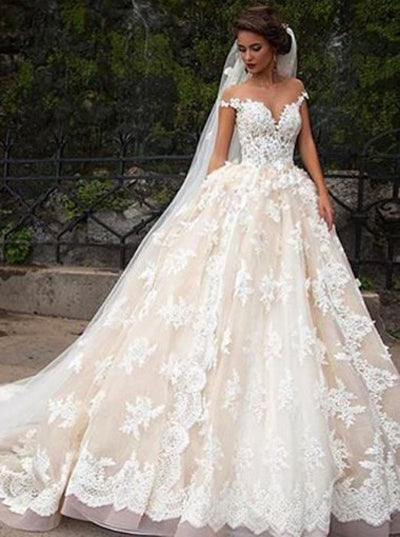 Glamorous Cap Sleeves Lace Tops Wedding Dress with Court Train, PW171
