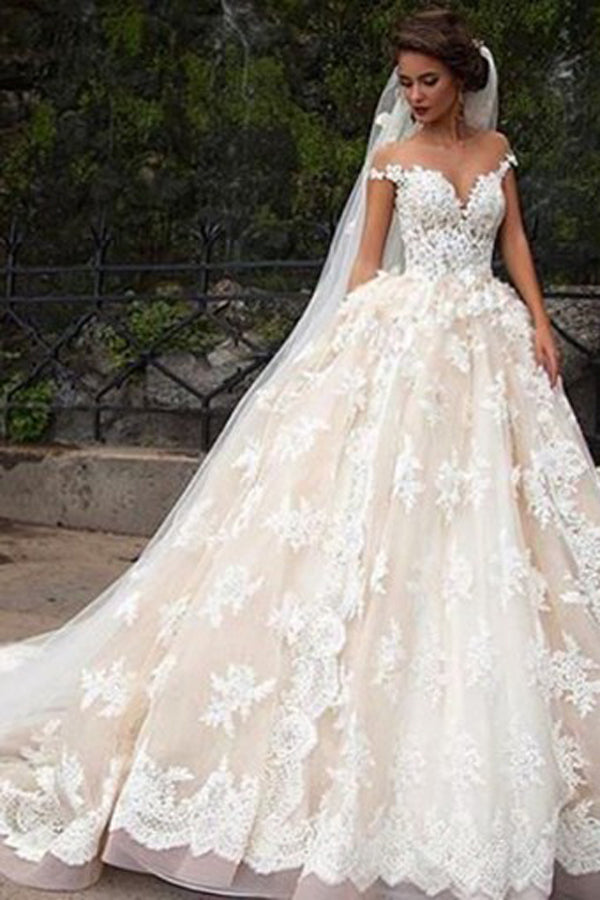 Glamorous Cap Sleeves Lace Tops Wedding Dress With Court Train