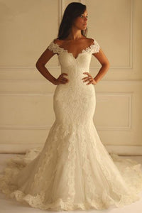 Special Off Shoulder Short Sleeves Mermaid Lace Wedding Dress with Appliques, PW172