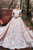 Luxurious Organza Off Shoulder Short Sleeves Wedding Dress with Lace, PW173