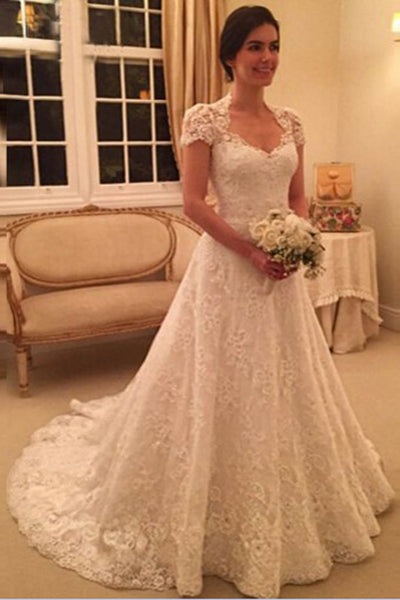 Delicate Short Sleeves Scoop Long Lace Wedding Dress With Illusion Back, PW174