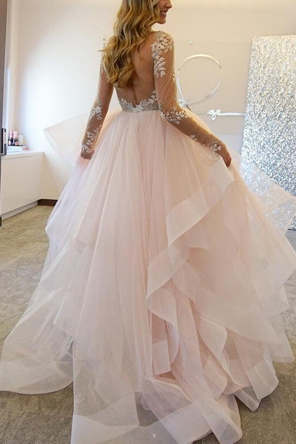 A Line Long Sleeves Tulle Wedding Dress Illusion Back With Appliques Beading, PW175