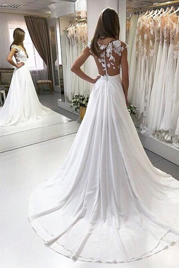 Boho Chic Long Chiffon Lace Beach Wedding Dresses With Appliques, PW177