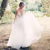 Boho Chic Pearl Beading V-neck Tulle Wedding Dresses With Appliques PW178