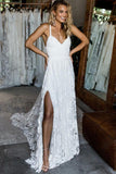 Spaghetti Straps Lace Criss-Cross Straps Wedding Dresses With Sweep Train PW179
