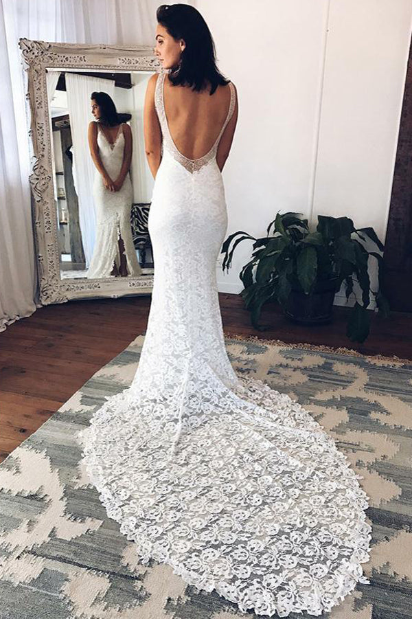 Sheath Column V-neck Long Sexy White Lace Beach Wedding Dress