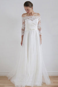 2018 A Line Long Sleeves Wedding Dress,Lace Wedding Gowns PW181