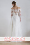 A Line Long Sleeves Wedding Dress,Lace Wedding Gowns PW181