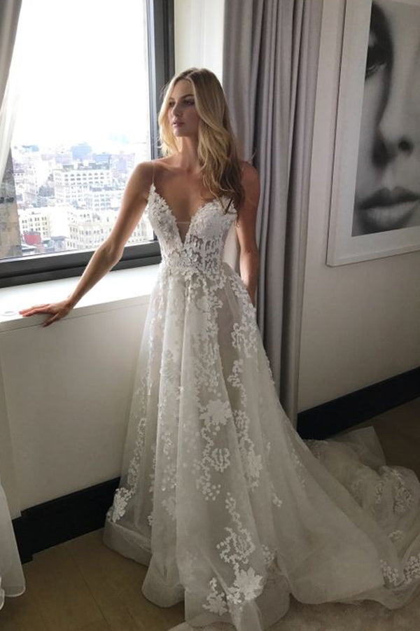 Cheap Lace A Line V Neck Wedding Dresses with Spaghetti Straps PW182