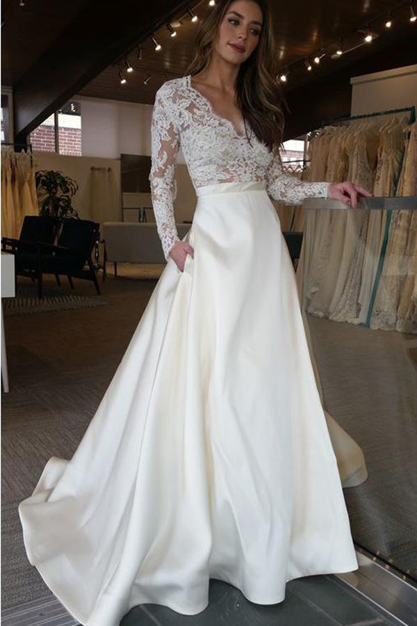 Elegant Cheap Ivory Lace V Neck Long Sleeves Long Wedding Dresses PW185