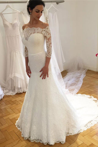 Lace Off Shoulder Sheath 3/4 Sleeves Wedding Dresses with Sweep Train PW186