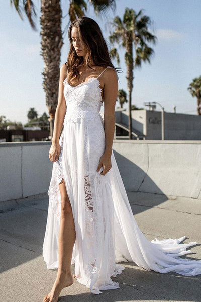 White Lace Chiffon A-line Spaghetti Strap Beach Wedding Dresses PW187