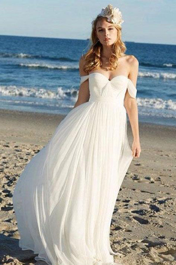 Ivory Chiffon Off the Shoulder A-line Summer Beach Wedding Dresses PW188