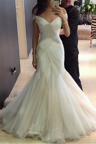 Sexy Mermaid Tulle V Neck Cap Sleeves Wedding Dresses with Sweep Train PW190