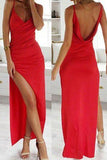 Elegant Modest Chiffon Red Vintage Long Prom Dress with Side Slit PW192