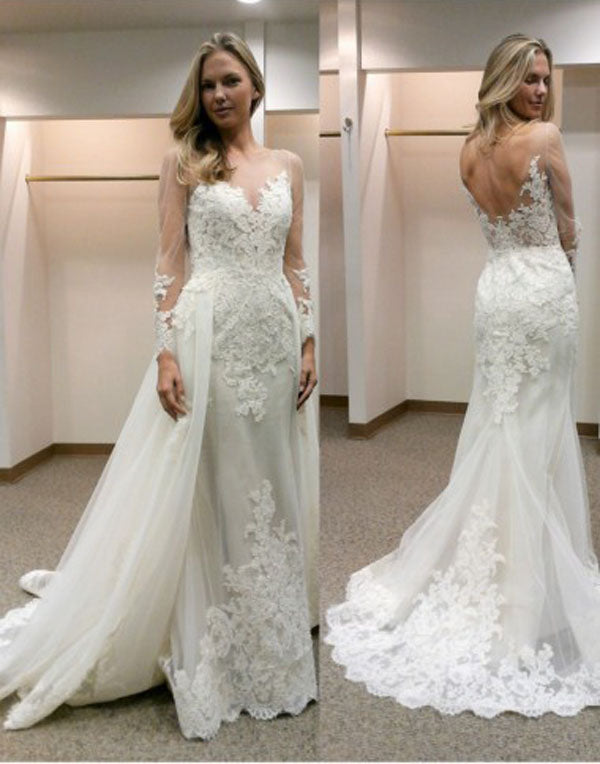 Fabulous Illusion Bateau Neck Long Sleeves Sheath Wedding Dress with Train PW192