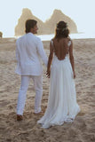 White Chiffon Backless Lace Open Back Sweetheart A-Line Beach Wedding Dresses PW193