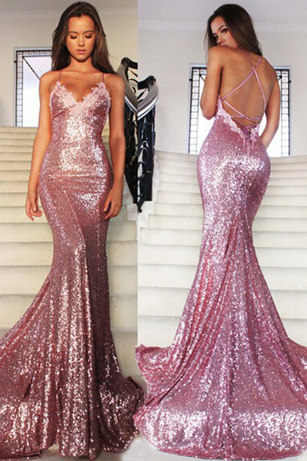 Fabulous Rose Pink Sequin Mermaid Long Prom Dress With Sweep Train, PL194
