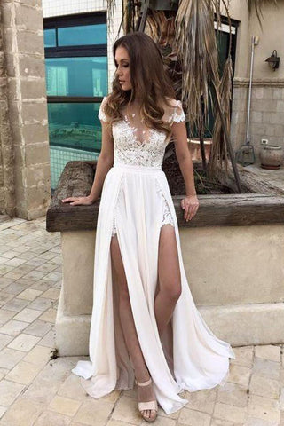 Gorgeous Chiffon Long Formal Side Slit Off-The-Shoulder Wedding Dress PW195