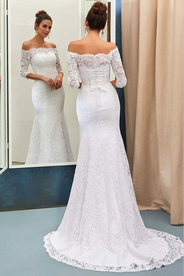 Mermaid Off The Shoulder 3 4 Sleeve Lace Up Wedding Dresses With Sweep Train Pw196