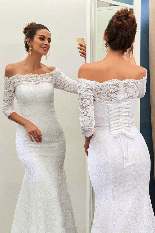 Mermaid Off Shoulder 3/4 Sleeve Lace-up Wedding Dress with Sweep ...